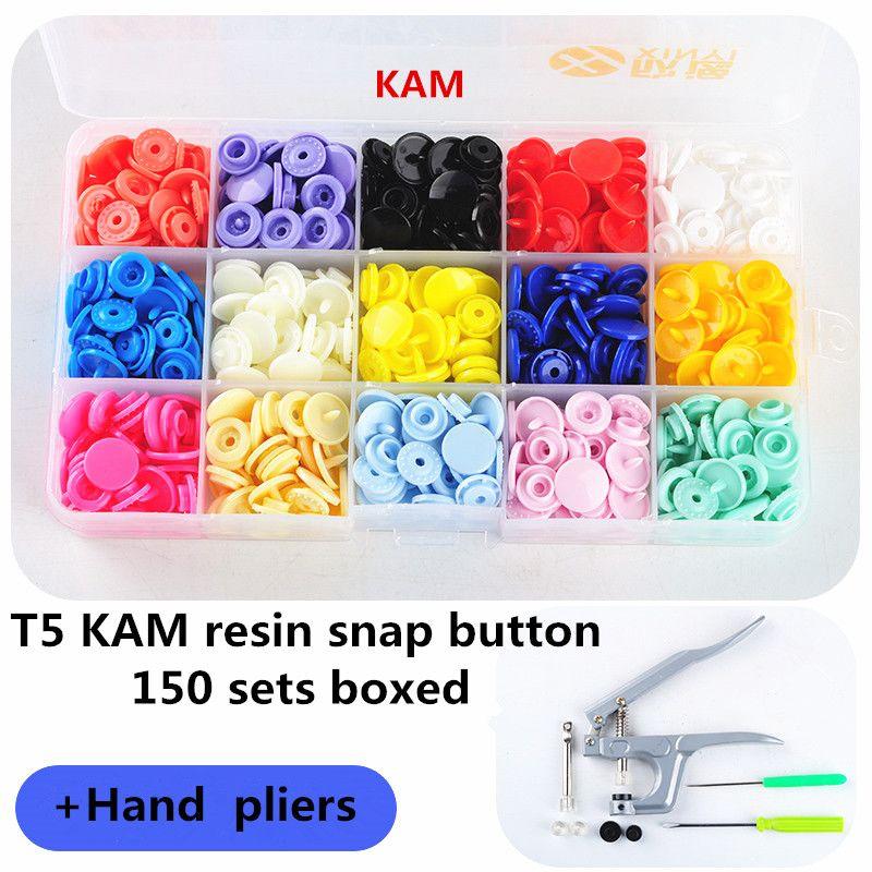 1 ensemble de pinces à presse en métal outils utilisés pour T3 T5 T8 Kam bouton de fixation pinces à pression + 150 ensemble T5 plastique résine bouton de presse couche-culotte en tissu