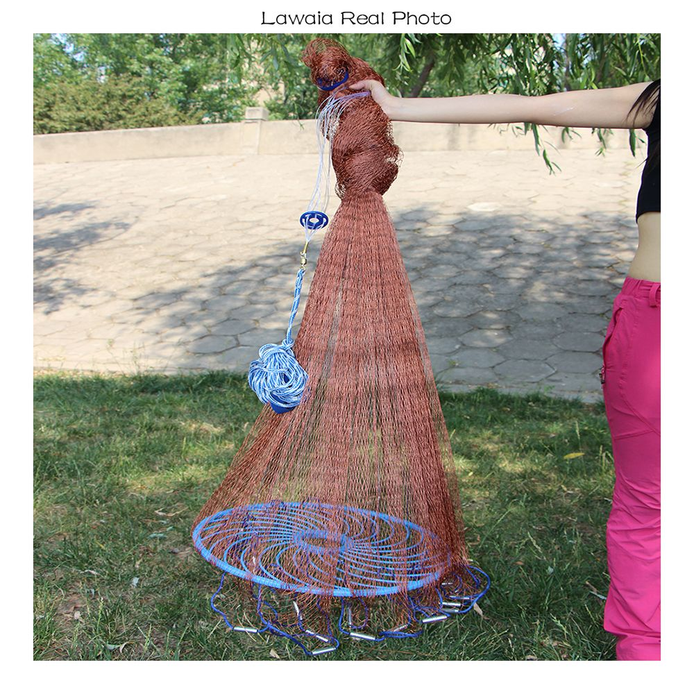 Lawaia Old Salt Cast Net Throw Net tire Line Rotary Fishing Network Diameter 3m-9m Hand Fishing Net Tool With Blue Ring