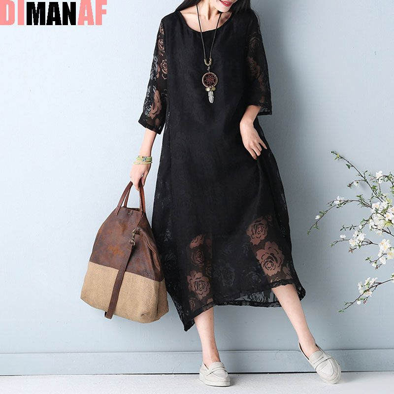 Plus Size Women Dress Summer Style Sexy Lace Patchwork Floral Fashion Vintage Female Casual Vestidos Dress Show Thin Large Dress