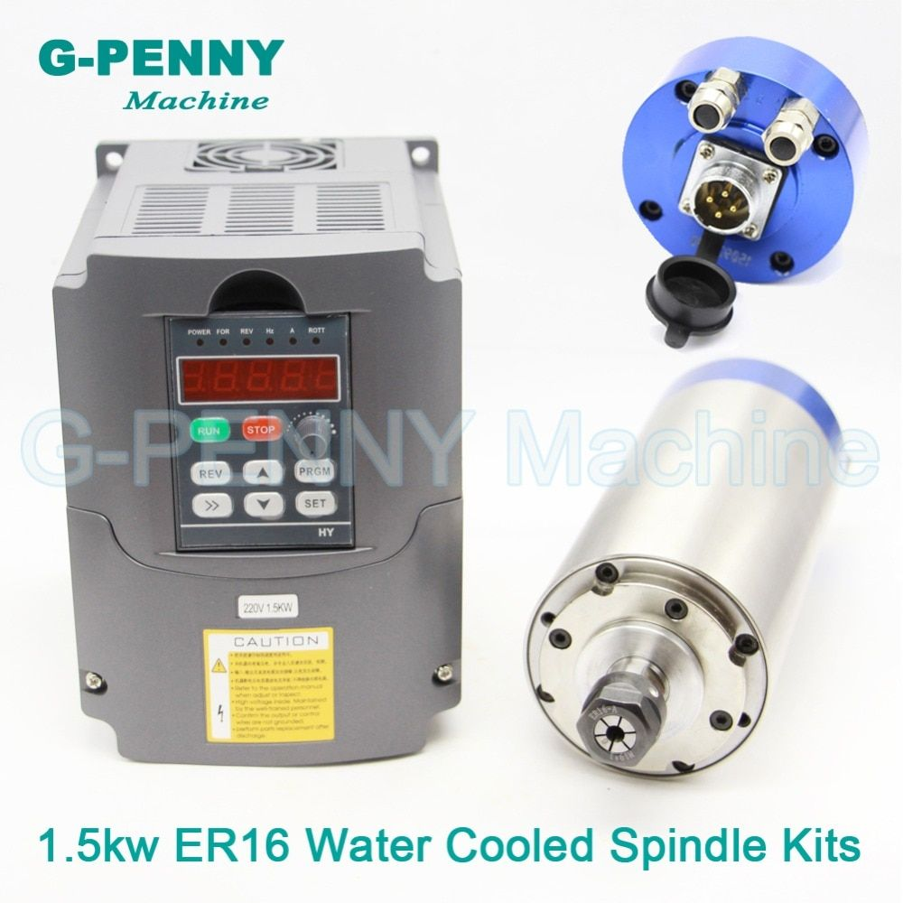 220V 1.5KW ER16 CNC Water Cooling Spindle Motor 80x220mm 4bearing wood working machine & 1.5kw VFD/inverter Variable Frequency