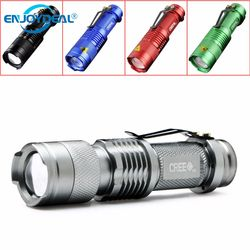 2018 New 5 Colors Mini Flashlight 2000 Lumens CREE Q5 LED Torch AA/14500 Adjustable Zoom Focus Torch Lamp Penlight lanterna