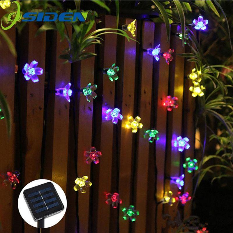Chaîne solaire lumières 7m 50led fleur de pêche étanche décoration extérieure éclairage fêtes de noël lumières de mariage jardin