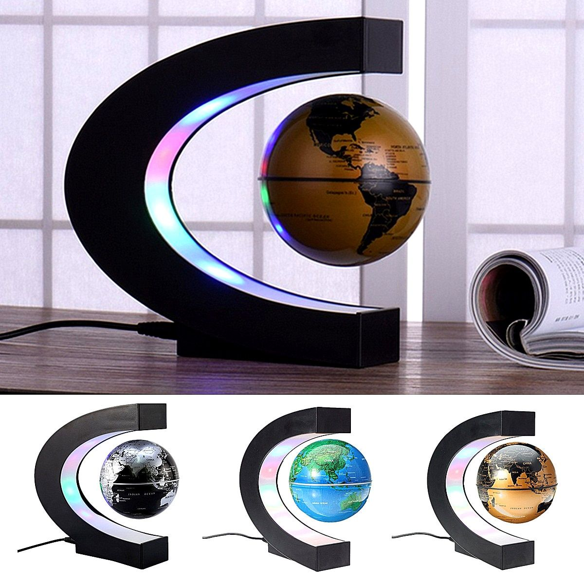 Anti Gravity Magnetic Levitation Earth Globe Floating Terrestrial Globe World Map with LED Light Home Office Decoration Ornament