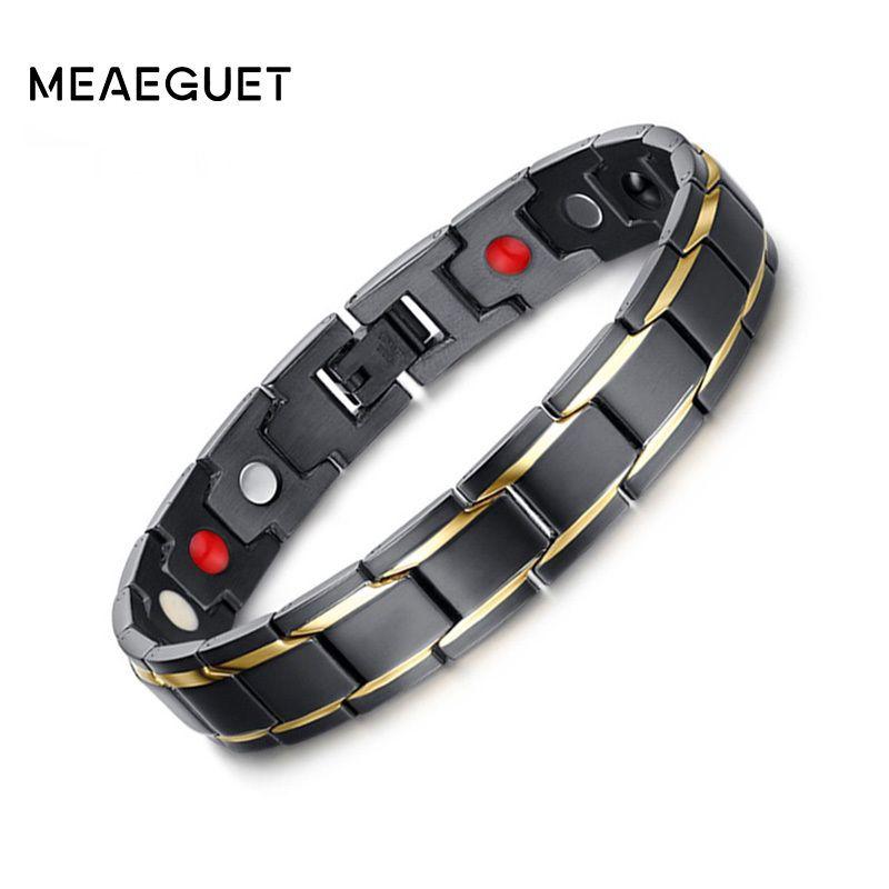 Meaeguet 12mm Black Health Bracelets & Bangles Magnetic H Power Stainless Steel Charm Bracelet Jewelry for Man