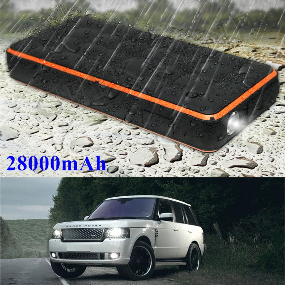 Waterproof 28000mAh Car Jump Starter 1000A Portable Starting Device Power Bank Car Charger For Car Battery Booster Auto Starter