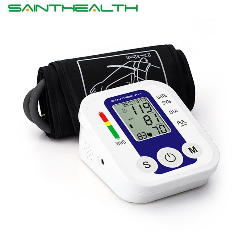 Arm Blood Pressure Pulse Monitor Health Care Monitors Digital <font><b>Upper</b></font> Portable Blood Pressure Monitor Meters Sphygmomanometer