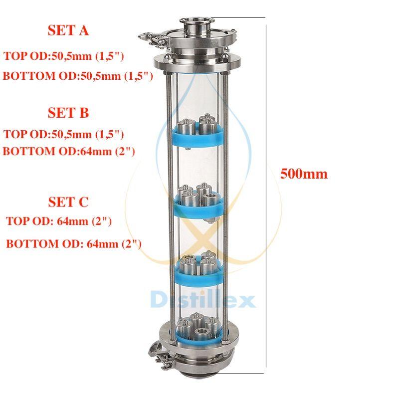 NEUE SS304 blase platten Destillation Spalte mit 4 abschnitt für destillation Glas spalte