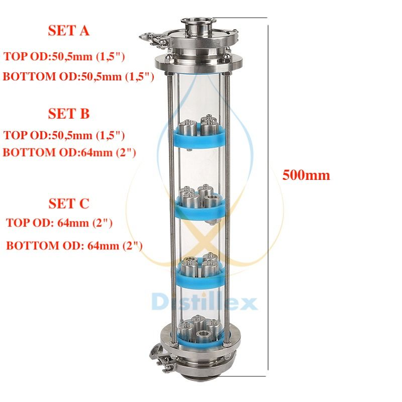 NEW SS304 bubble plates Distillation Column with 4 section for distillation Glass column