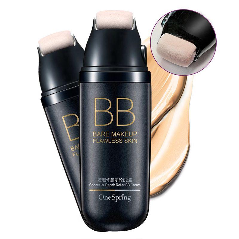 Un Rodillo De Resorte Natural Cara Crema Facial Crema Facial Crema BB Desnuda Fundación Corrector Mancha Oscura Impermeable Kit de Maquillaje de Belleza