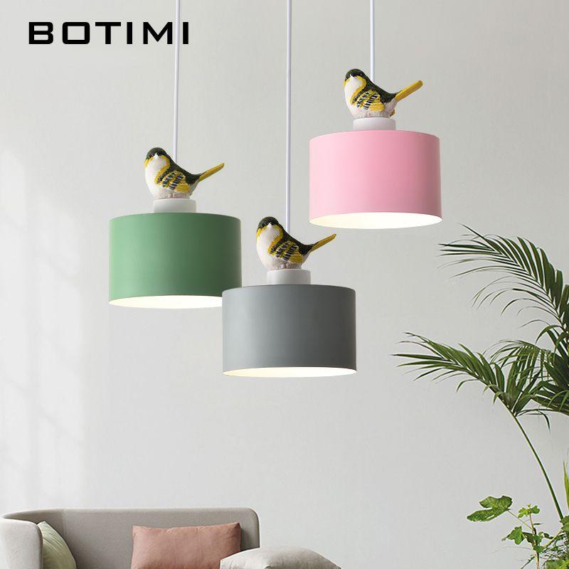 BOTIMI LED Anhänger Lichter Mit Vogel Für Esszimmer Grün Hängen Lampe Rosa Restaurant Luminaria Grau Metall Suspension Leuchte
