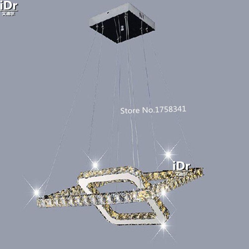 Modern minimalist stainless steel LED Square crystal chandelier lamp bedroom luxury living room lighting WE-007