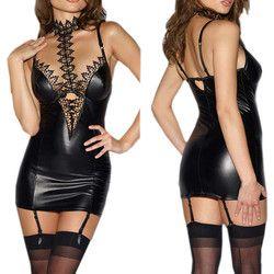 Lateks Babydoll Erotis Lingerie Seksi Untuk Wanita PU Kulit Renda Patchwork Peran Bermain Cosplay Seksi Kostum Seks Lingerie Mini Dress