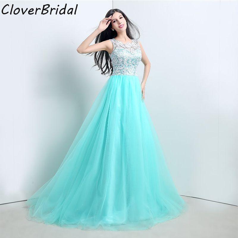 In Stock Ready To Ship New Blue Lace Tulle Sleeveless Cheap Party Dresses Long Dress Vestido De Festa Longo Size 2-16