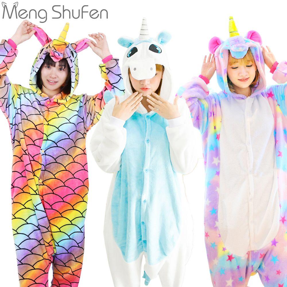 Pink Unicorn Pajamas Sets Flannel Animal Pajamas <font><b>Winter</b></font> Nightie Stitch unicornio Sleepwear for Women Men Adults