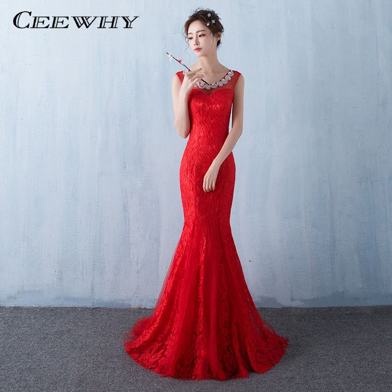 CEEWHY Red Crystal Evening Dresses Long 2017 Prom Party Formal Dress Lace Evening Gown Trumpet Mermaid Dress Robe De Soiree