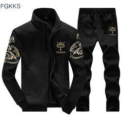 FGKKS новый мужской комплект, Модный осенне-весенний спортивный костюм, толстовка + спортивные штаны, 2 предмета, Мужская одежда, тонкий мужско...