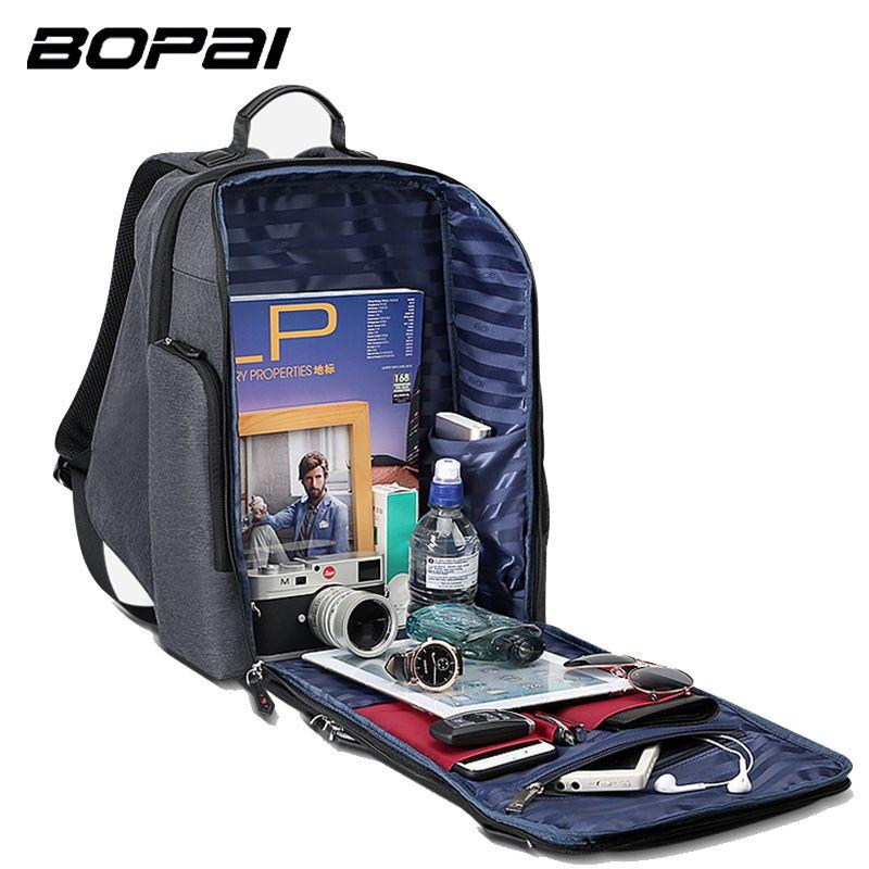 BOPAI 2018 New Men Backpack USB Charging Bag 15.6inch Laptop Backpack Anti theft High Capacity Waterproof Men Travel Backpack