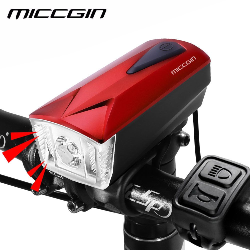 Wired Remote Control Bike <font><b>Bell</b></font> & Bicycle Light USB Rechargeable 360LM Lamp MICCGIN LED headlight Waterproof Cycling Front Light