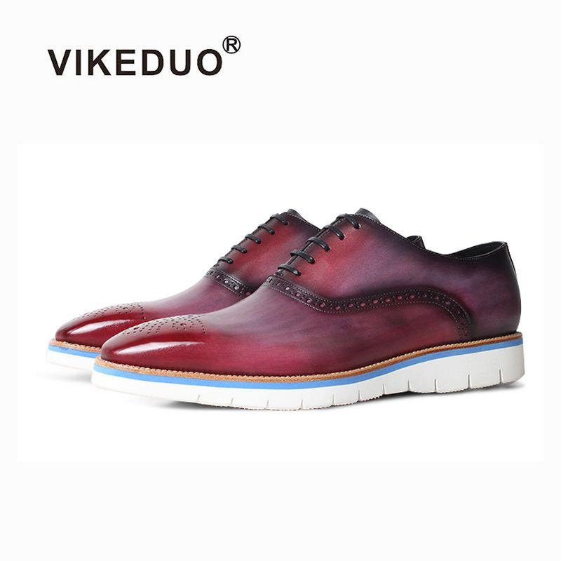VIKEDUO 2019 Sommer Neue Turnschuhe Patina Brogue Lässige Mans Schuhe Aus Echtem Leder Hochzeit Büro Oxford Kleid Schuhe Zapatos