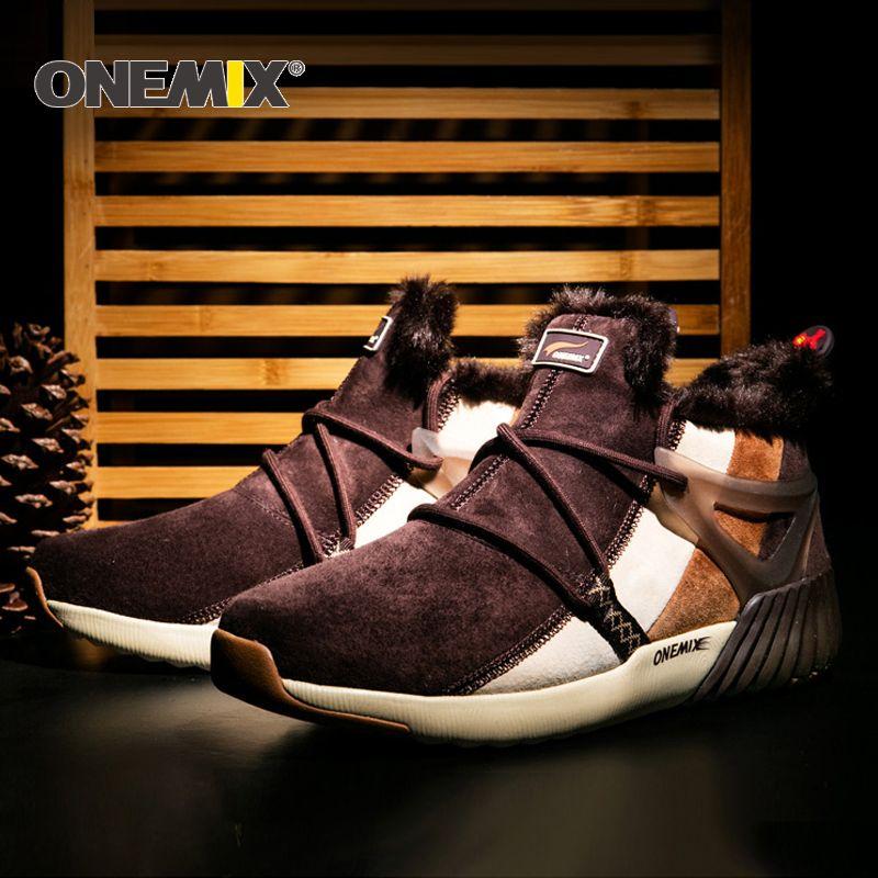 ONEMIX Neue Winter Laufschuhe Komfortable männer Stiefel frauen stiefel Warme Wolle Turnschuhe Outdoor Unisex Athletische Sport Schuhe