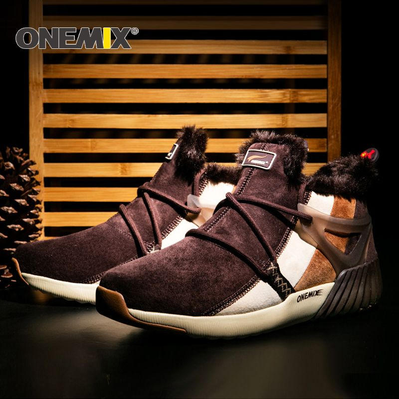 ONEMIX New Winter Running Shoes Comfortable Men's Boots Women's boots Warm Wool Sneakers Outdoor Unisex Athletic Sport Shoes