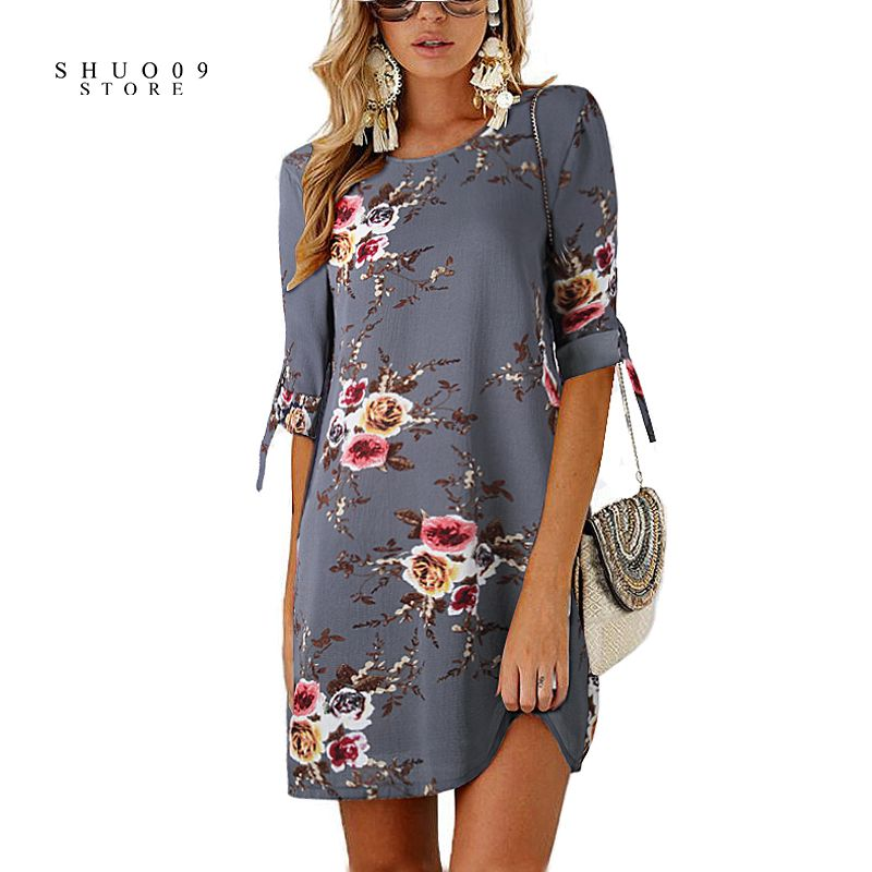 2018 Summer Floral Women Dress Plus Size Female Flower Print Vintage Boho Beach Dress Straight O-Neck Half Sleeve Party Dress