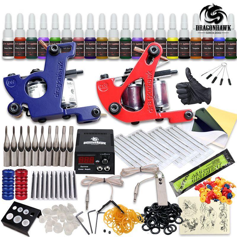 Professionelle Tattoo Kit 2 Maschinengewehr 20 Farbtinten Stromversorgung Komplette Tattoo Kits