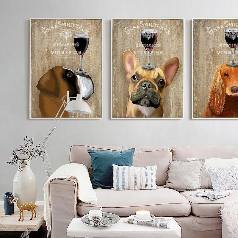 Mignon chien mur dessin toile impressions bricolage peinture à l'huile affiches pour enfants chambre décoration de la maison photos Wal Deacl mur Art