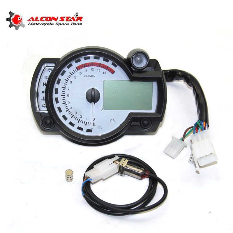 Alconstar- White Panel Adjustable Motorcycle Digital Speedometer Odometer 299 MPH/KPH Universal for all motorcycle easy install