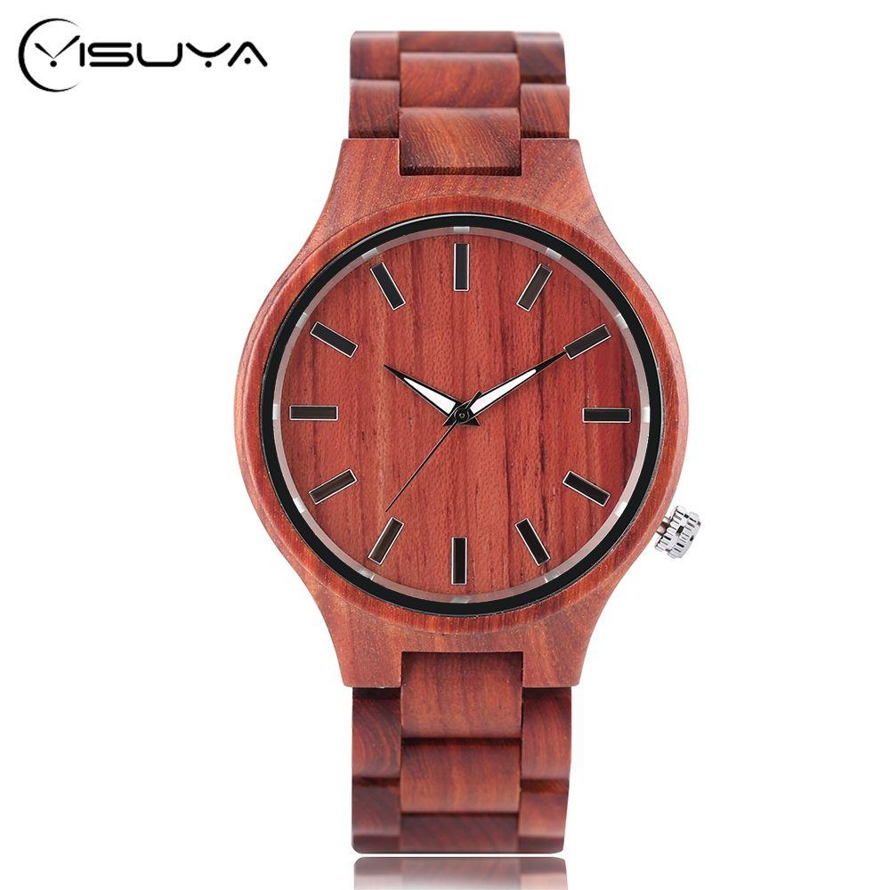 Cadeau En Bois Plein Montres Homme Creative Sport Bracelet Analogique Nature Bambou Montre À Quartz Homme Horloge Relogio Masculino