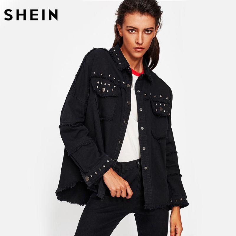 SHEIN Studded Frayed Hem Denim Jacket Autumn Women Coats Black Lapel Single Breasted 2017 Women's Jackets and Coats