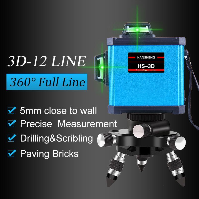 HANSHENG 12Lines 3D Laser Level Self-Leveling 360 Horizontal And Vertical Cross Super Powerful GREEN Laser Beam Line