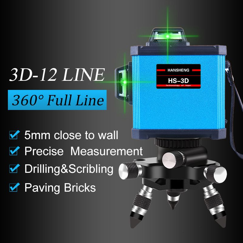 HANSHENG 12Lines 3D Laser Level Self-Leveling 360 Horizontal And Vertical Cross Super Powerful GREEN Laser Beam Line