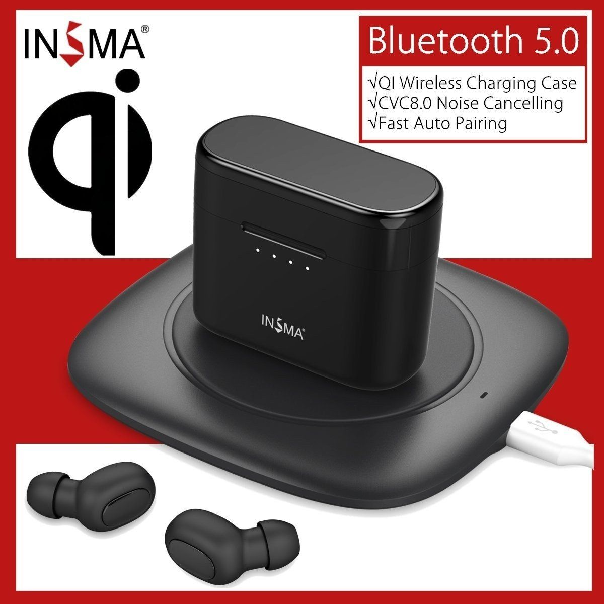 INSMA AirBuds with QI Charging Case Mini TWS Earphone bluetooth 5.0 Earbuds Stereo Wireless Headset PK i10 i12 i60