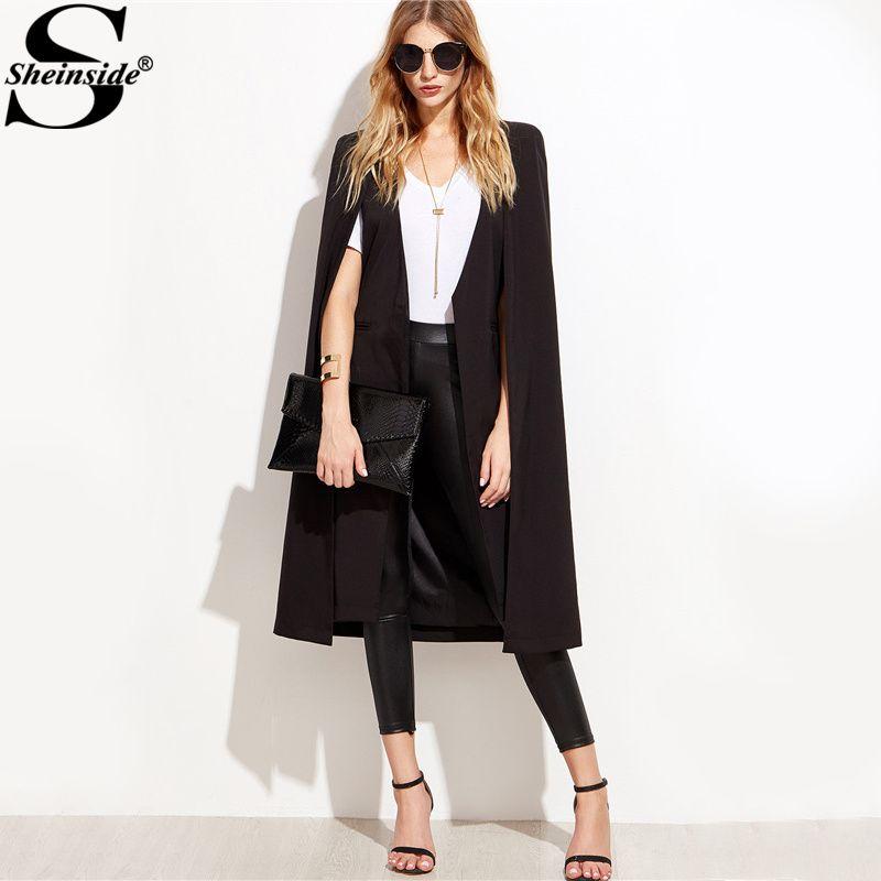 Sheinside Elegant Longline Cape Blazers Black Open Front Women Vintage Coat 2017 Autumn Fashion Slim Pocket Blazer