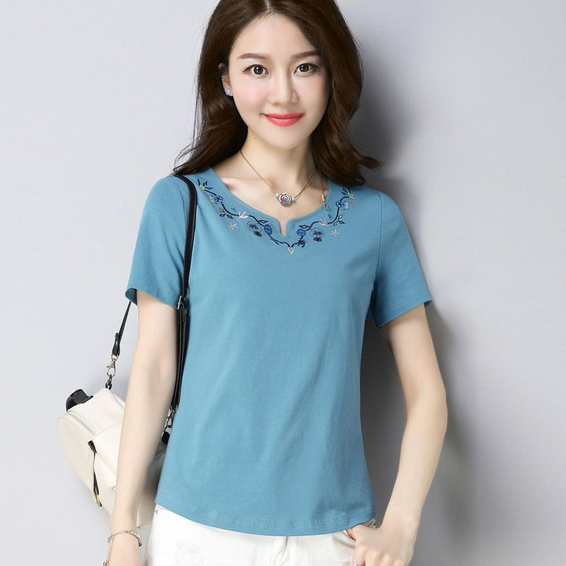 Summer short sleeve t-shirt new O neck Embroidery fashion cotton t shirt solid color blue red white tshirt plus size tee shirt