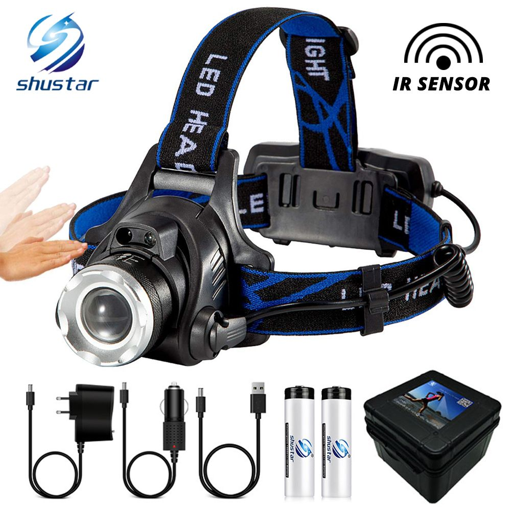 IR Sensor LED Headlamp Fishing lamp Super bright LED Headlight Use T6/L2/V6 lamp beads Support zoom Powered by 18650 battery