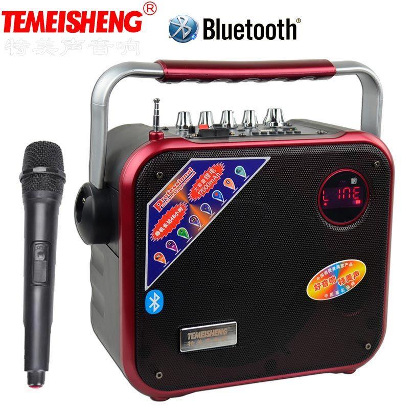 TEMEISHENG Haute Puissance Portable Haut-Parleur Bluetooth Support de Haut-Parleur Wirelss Microphone Extérieur audio haut-parleur MP3 Lecteur de Musique