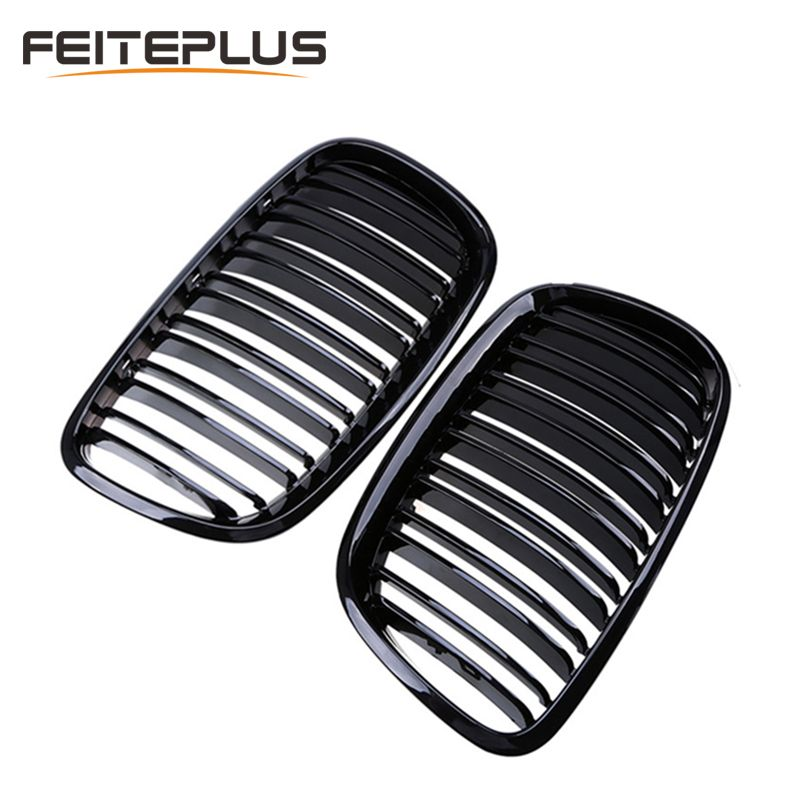 For BMW Old X5 X6 E70 E71 2007-2014 Glossy Black Dual Slat Style Front Kidney Grille Grill Refit Hood Bumper Grills Car Styling
