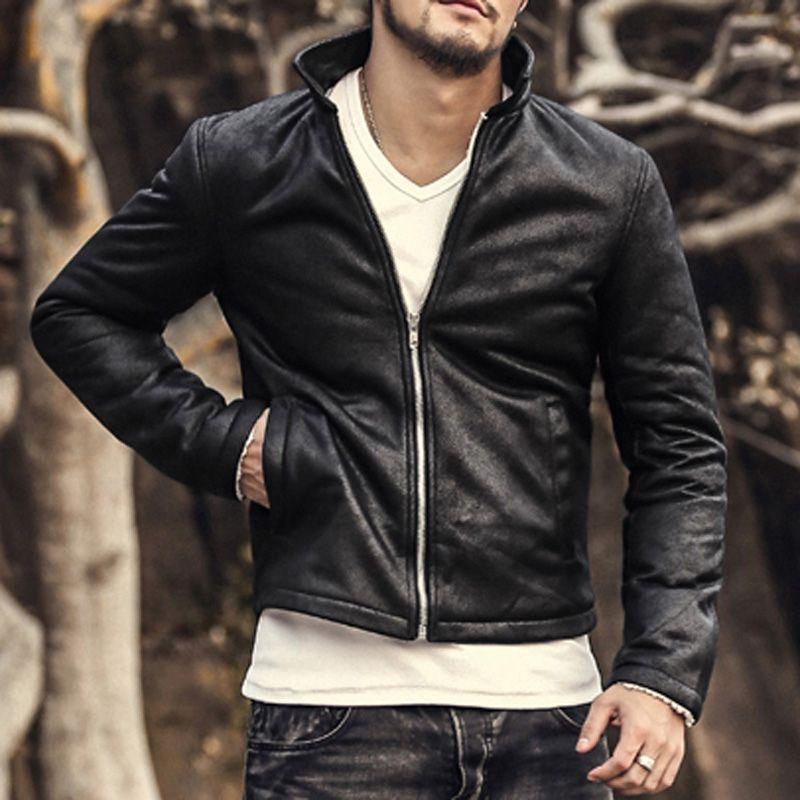 Men Motorcycle Biker leather jacket mens jaqueta de couro masculina PU leather jacket Windbreak coats