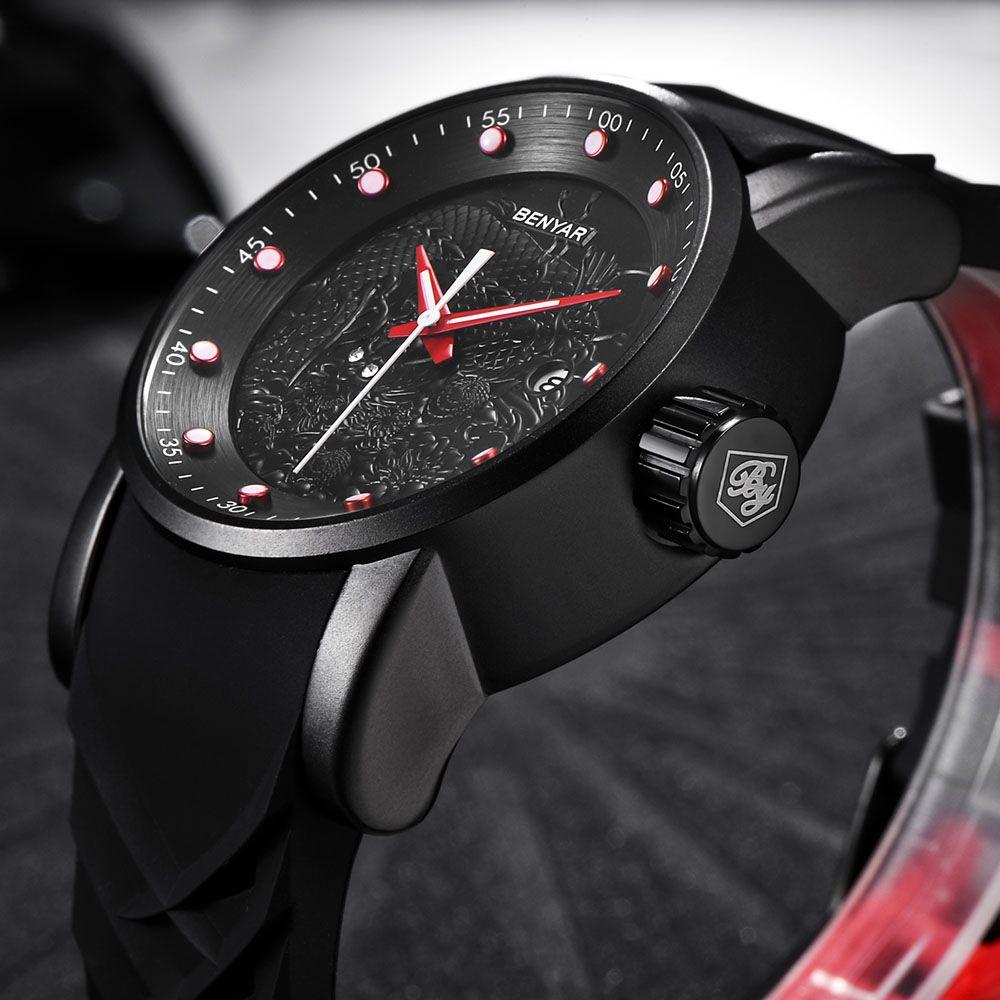 New BENYAR Hot Mens Watches Military Army Top Brand Luxury Sports Casual Waterproof Men Watch Quartz Rubber Man Wristwatch Clock