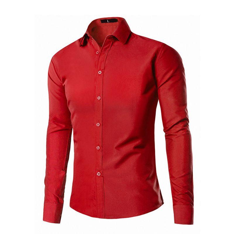 2017 neu Kommen Männlichen Tragen Sommer Männlichen kleid Mens Casual Shirts Slim Fit Tops Marke Kleidung rot schwarz 9 farben