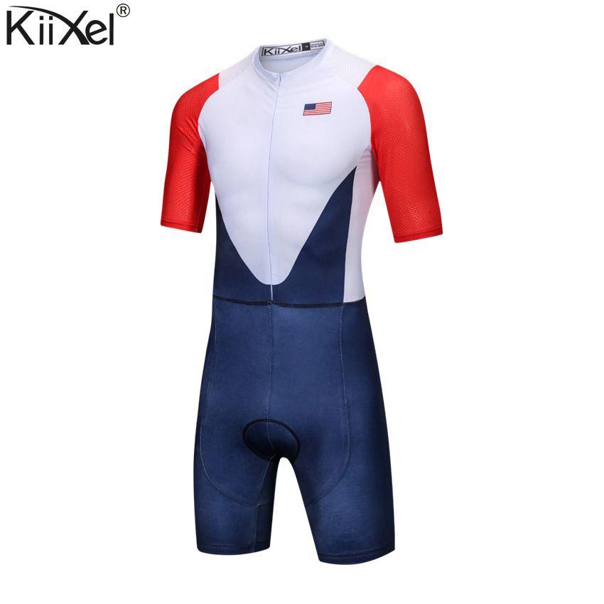 Marke USA Team Radfahren Skinsuit Mann der Triathlon Speedsuit Overall Maillot Ciclismo Kleidung Racing Skinsuit Full-Zip Trisuit