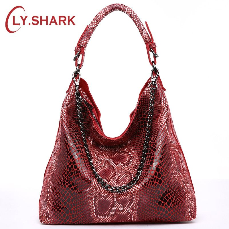 LY.SHARK Genuine Leather Bags For Women Female Handbag With Serpentine Pattern Leather Bag Hobos Tote Bag Summer Messenger Bags