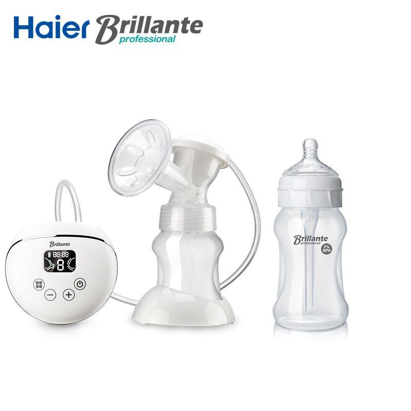 Haier Brillante Electric Breast Pump Breast Milk Sucker USB Li battery dual Power 230mL/8oz PP Anti-colic Baby Feeding Bottle