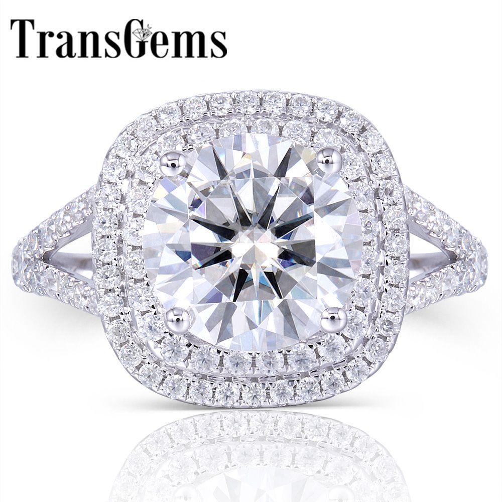 TransGems Solide 14 K 585 Weiß Gold Center 3ct Moissanite Diamant Doppel Halo Ring mit Akzente Feinen Schmuck für Frauen