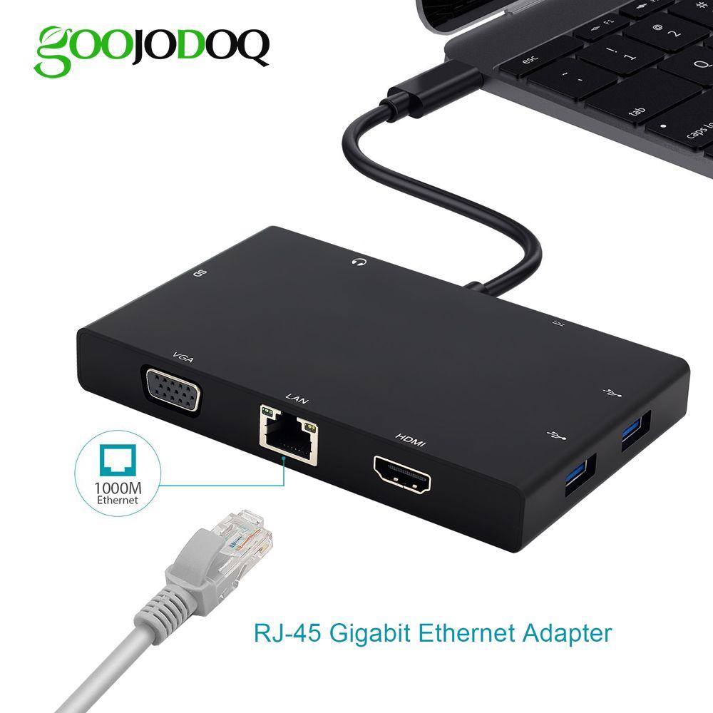 USB C Hub for Macbook Pro thunderbolt 3 USB-C HDMI Ethernet VGA Adapter Card Reader 3.5mm Jack Type C Hub with Charging Port