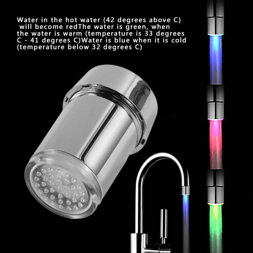 2017 NEUE 3 Farbe LED-Licht Ändern Wasserhahn Dusche Wasser Hahn-hahn-temperaturfühler Wasserhahn Glow Dusche Linke Schraube mit konverter