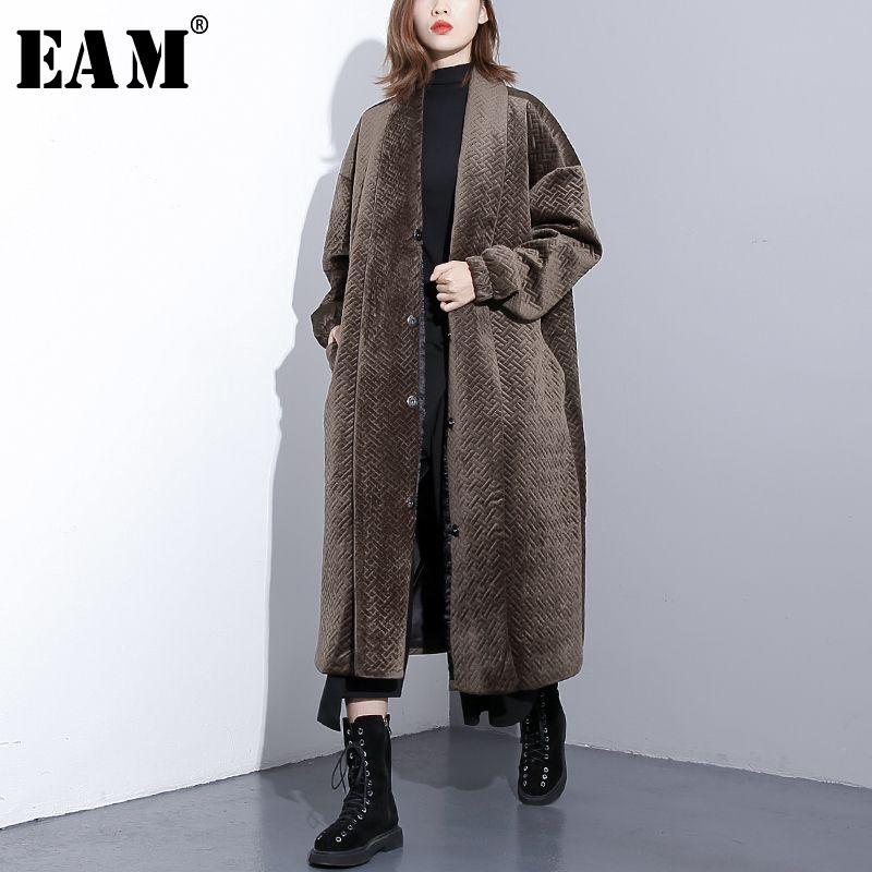 [EAM] 2019 New Spring Lapel Long Sleeve Black Loose Large Size Cotton-padded Warm Long Coat Women Fashion Tide JI392
