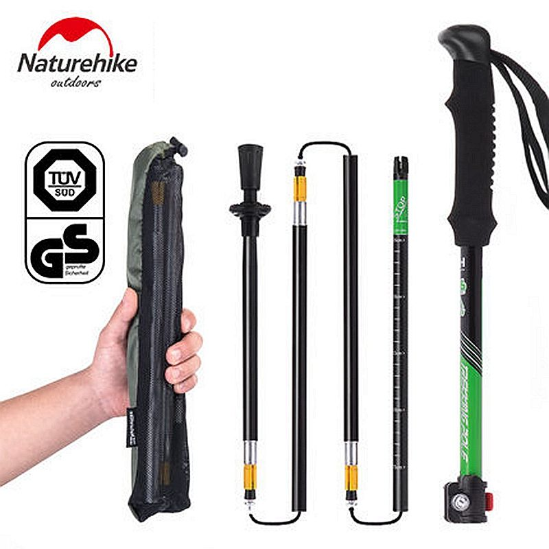 NatureHike Ultralight 7075 Aluminum Alloy Adjustable 5 Sections Telescopic Alpenstock walking Hiking Stick Trekking Pole 135cm